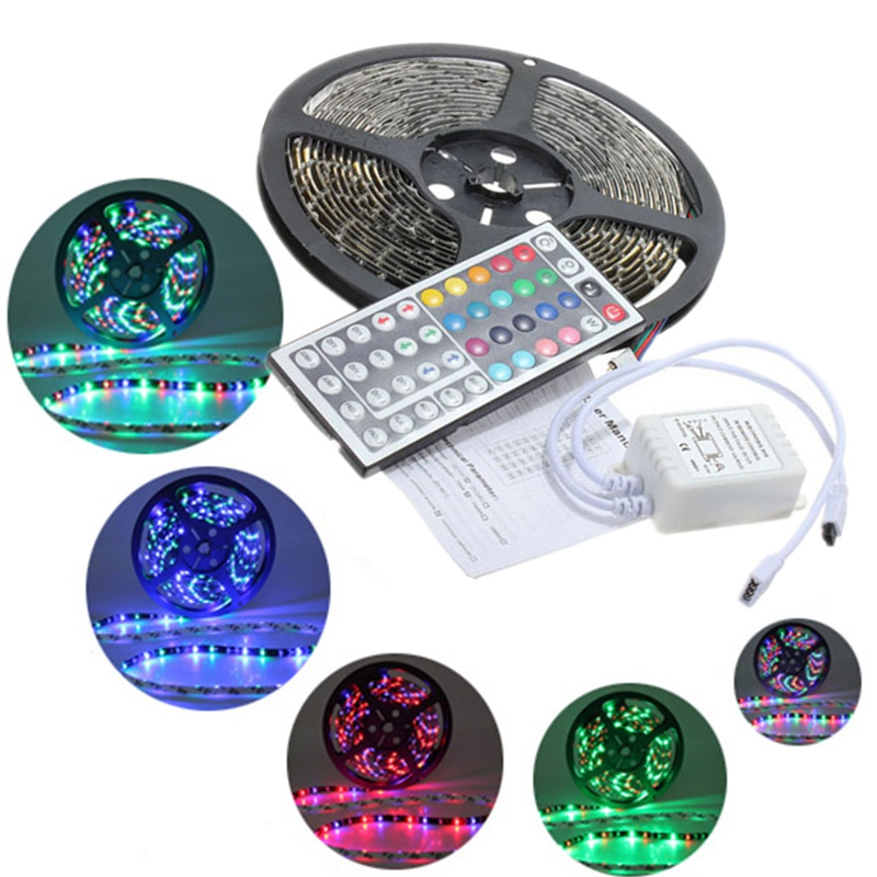 Excellent Quality 5M 3528 SMD RGB 300 LED Strip Flexible Waterproof Light With 44 Key Remote Controller DC12V(China (Mainland))