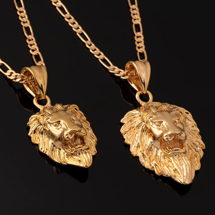 Lion Head Men Jewelry Cool Gift Free Shipping 2014 Trendy 2 Sizes Options 18K Real Gold Plated Exquisite Necklaces Pendants P585(China (Mainland))