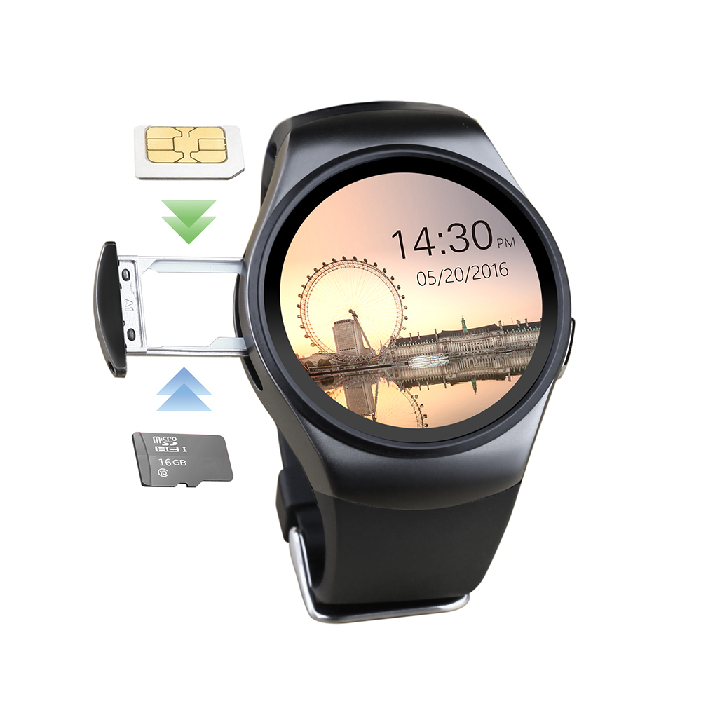 Hot! KW18 Smart Watch SIM TF MTK2502 Heart Rate Monitor Smartwatch Touch Screen bluetooth Wristwatch apple android IOS phone