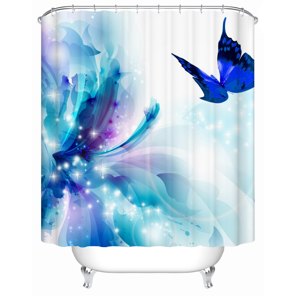 2016 New Fabric-shower-curtain Blue Butterfly High Quality Shower Curtains Bathroom Curtain Waterproof Accessories Y -196(China (Mainland))