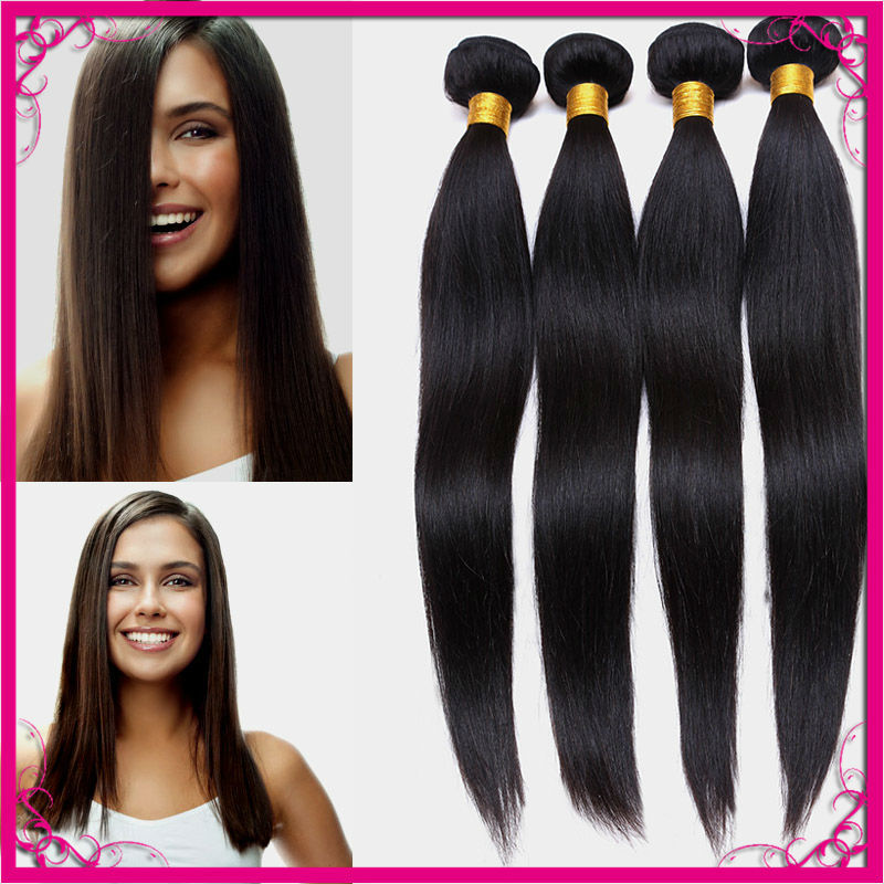Peruvian Virgin Hair Straight 4Pcs/Lots Rosa Hair Products 100% Peruvian Human Hair Extensions Bundles Deals Natural Color(China (Mainland))