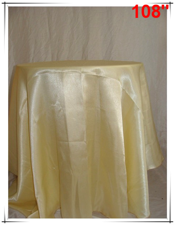 10pcs 108'' Satin round Tableclothes light yellow for Banquet Wedding Party Decoration Supplies(China (Mainland))