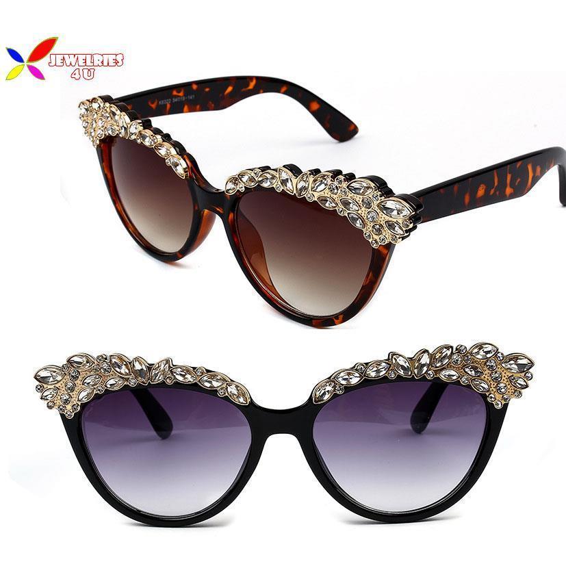 Hot 2015 Black White Make Shape Frame Faux Tone Eyebrows Women Sunglasses Fashion Vintage Outdoor Shades gafas de sol - Jewelries4U **Min. order is $10** store