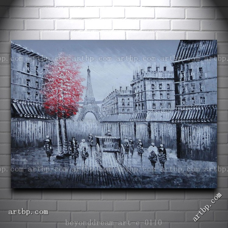 Paris street to eiffel tower black and white oil painting for Black and white paris wall mural