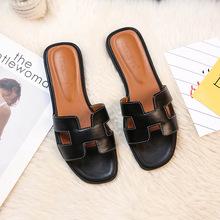Luxus marke 2019 neue sommer hausschuhe frauen cut out beach sandalen frauen rutschen hausschuhe indoor slip auf flip-flops size43(China)