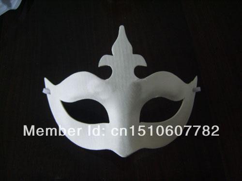 2014 hot selling plain white half-face DIY Crown masks Blank paper match masks 100pcs/lot(China (Mainland))