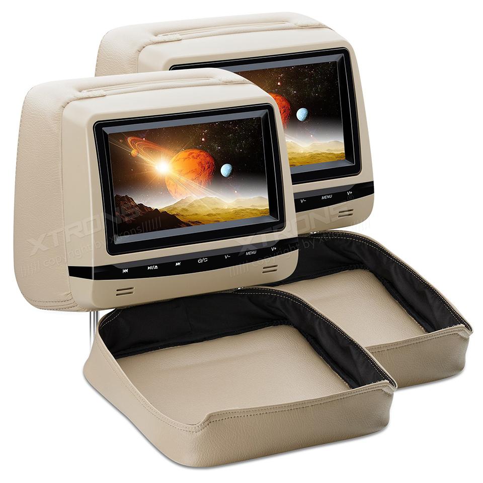 2x7 in car dvd headrest monitor rear seat adjustable screen anti theft detachable flat