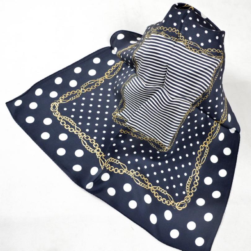 Europe America Style 100% Silk Small Square Scarf Printed Fashion White Round Dot Chain Silk Satin Scarf Female Pure Silk Scarf(China (Mainland))