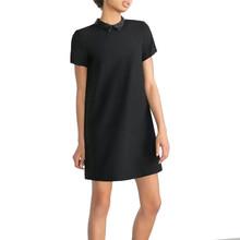 Women Faux PU leather collar black dress short sleeve summer turn-down collar A-line mini dress Vestidos casual dress QZ2292(China (Mainland))