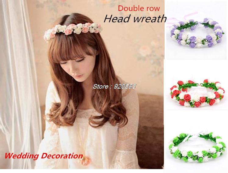 EW HOT Double row head wreath /wedding decoration / Headdress flowe for photography / Bridal wreath / children's wreath(China (Mainland))