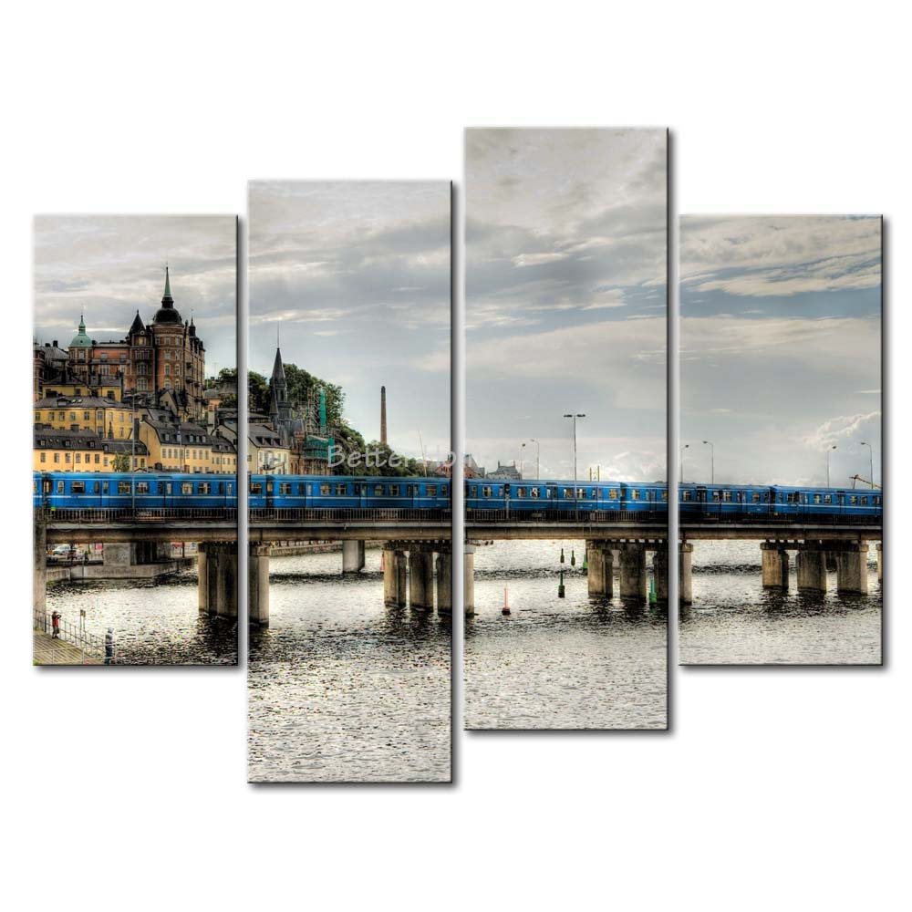 3 Piece Wall Art Painting Stockholm Train Track Bridge On River Picture Print On Canvas City 4 5 The Picture(China (Mainland))