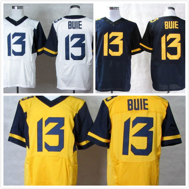 Free Shipping West Virginia Mountaineers #13 Andrew Buie American baseball jersey NCAA cheap jersey Size:M-XXXL(China (Mainland))
