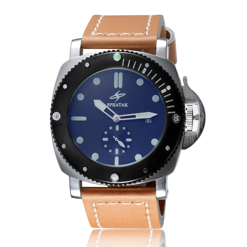 Speatak classic business mens automatic watch Unique quartz watch fluorescence watches with specail second dial<br><br>Aliexpress