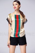 Women's Red Green Striped Constrast Color Ruffle Sleeve Satin Tees European Palace Style Luxury Brand Design Tops 229054(China (Mainland))