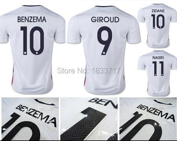 Thai Quality 15 16 Griezmann Soccer Jersey 2015 2016 BENZEMA POGBA VARANE RIBERY VALBUENA GIROUD national team football shirts(China (Mainland))