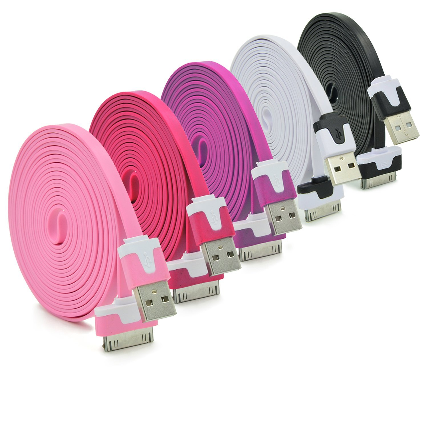 1M Colorful Usb to 30 pin USB Sync Data Charging Charger Cable Cord for iPhone 4 4S 4G 3GS  iPad 2 3 iPod nano touch Adapter