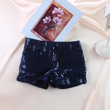 Retail Summer Child Fashion Shorts Girls  Sequin Pants Kids Trousers Children Clothes 100% Cotton Size 2T -14T