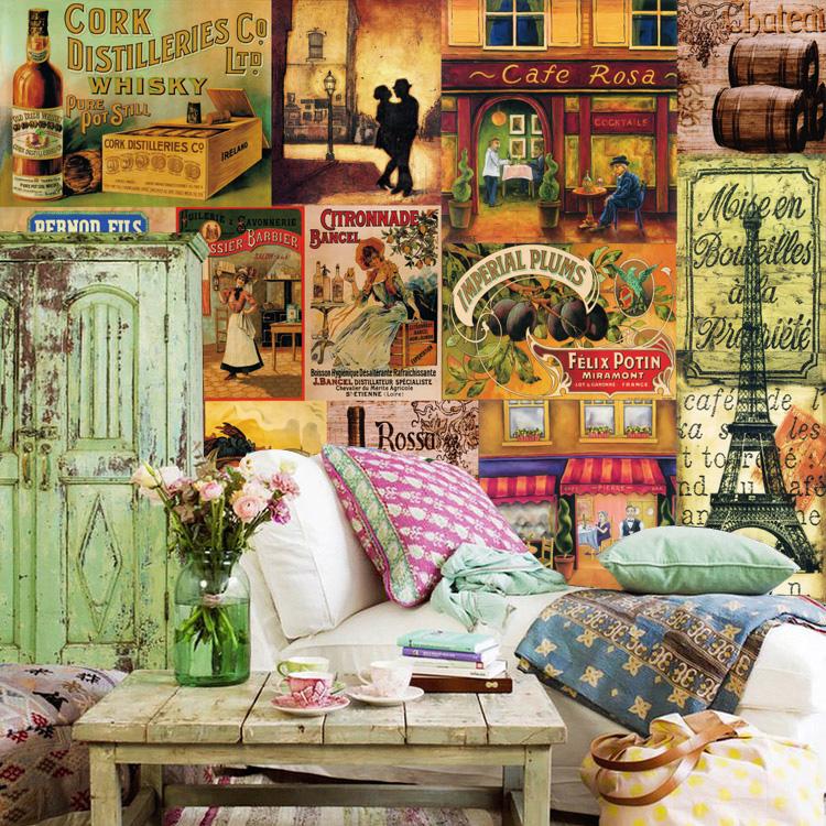 Fashion ktv bar large mural wallpaper living room bedroom for Classic mural wallpaper