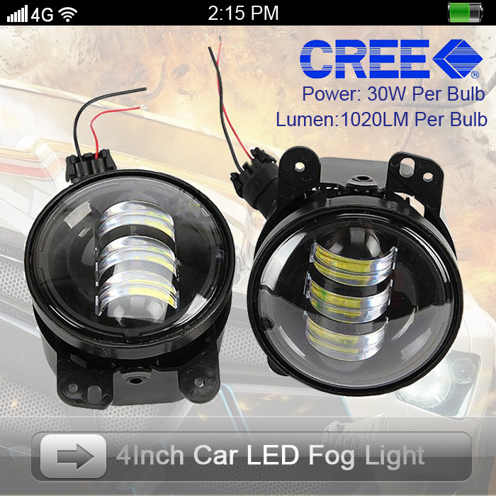 2015 Latest !! One Set Round Design 30W 4inch 1020LM Per Bulb CREE LED Fog Light Daytime Running Light For JEEP Truck Waterproof(China (Mainland))
