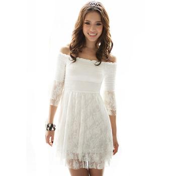 2015 Summer Korean Style White Lace Dresses Off Shoulder Short Sweet Slim Women Mini Dress WQL099