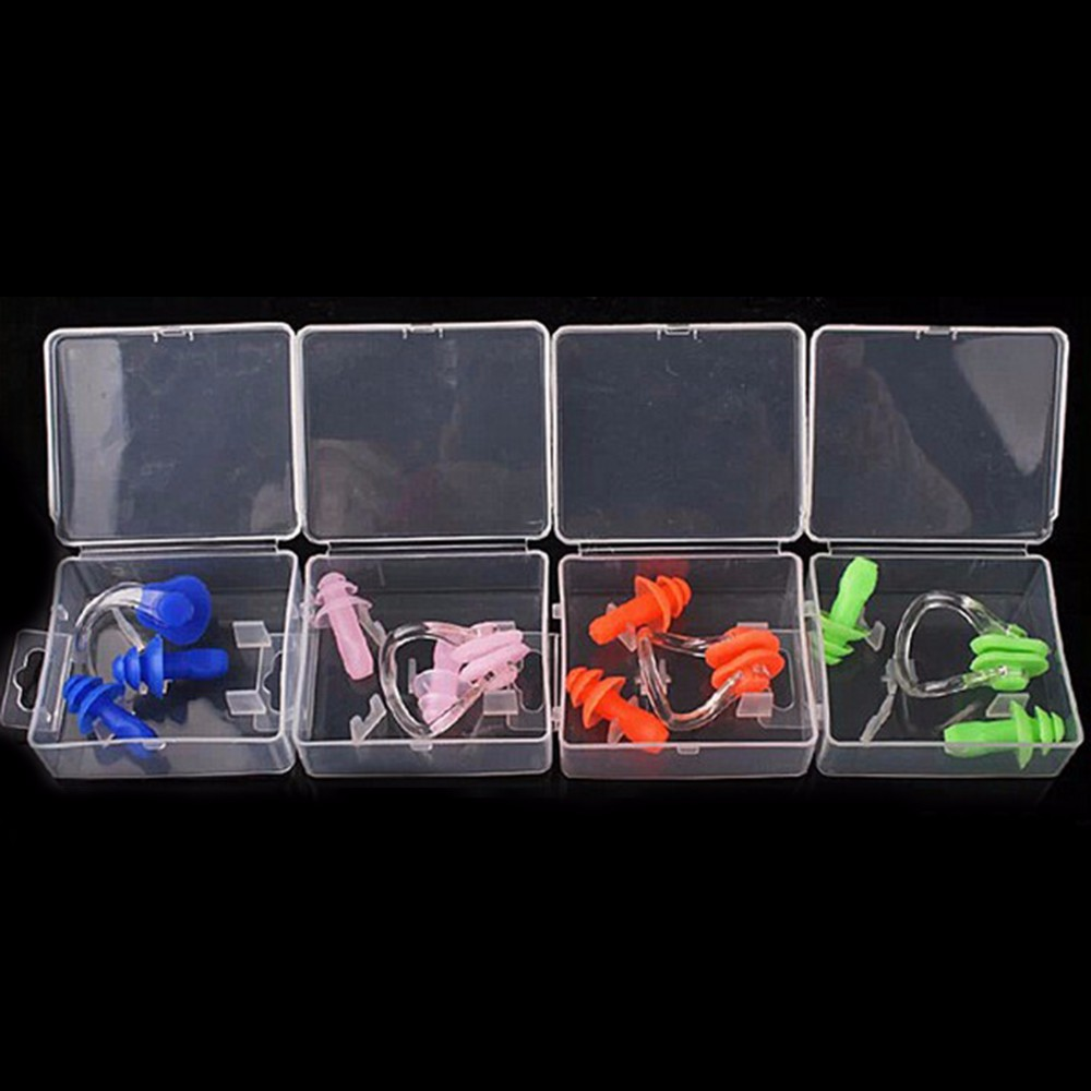 Portable Swimming Waterproof Soft Silicone Set Earplugs + Nose Clip + Case Pool Accessories Water Sports(China (Mainland))