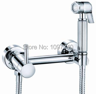 Luxury Shattaf Bidet Sprayer Kit Brass Douche + Faucet Mixer + S.S304 Hose Thick Chrome Plated 100% Guaranteed Quality ST-0901(China (Mainland))