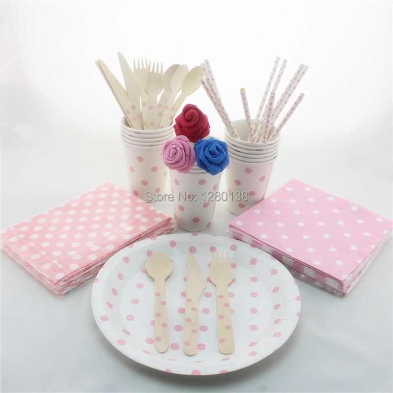dot tableware set wedding baby shower decor biodegradable paper plates