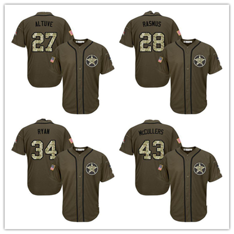 Mens27 Jose Altuve 28 Colby Rasmus 100% Embroidery Army green Baseball Jersey(China (Mainland))