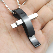 Fashion Silver Cross Stainless Steel Pendant Necklace Men Women Chain Murano Christian Jewelry Christmas Gifts Wholesale