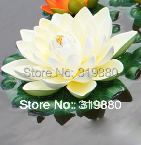 White lotus EVA material simulation flower flowers water decorative flowers free shipping(China (Mainland))