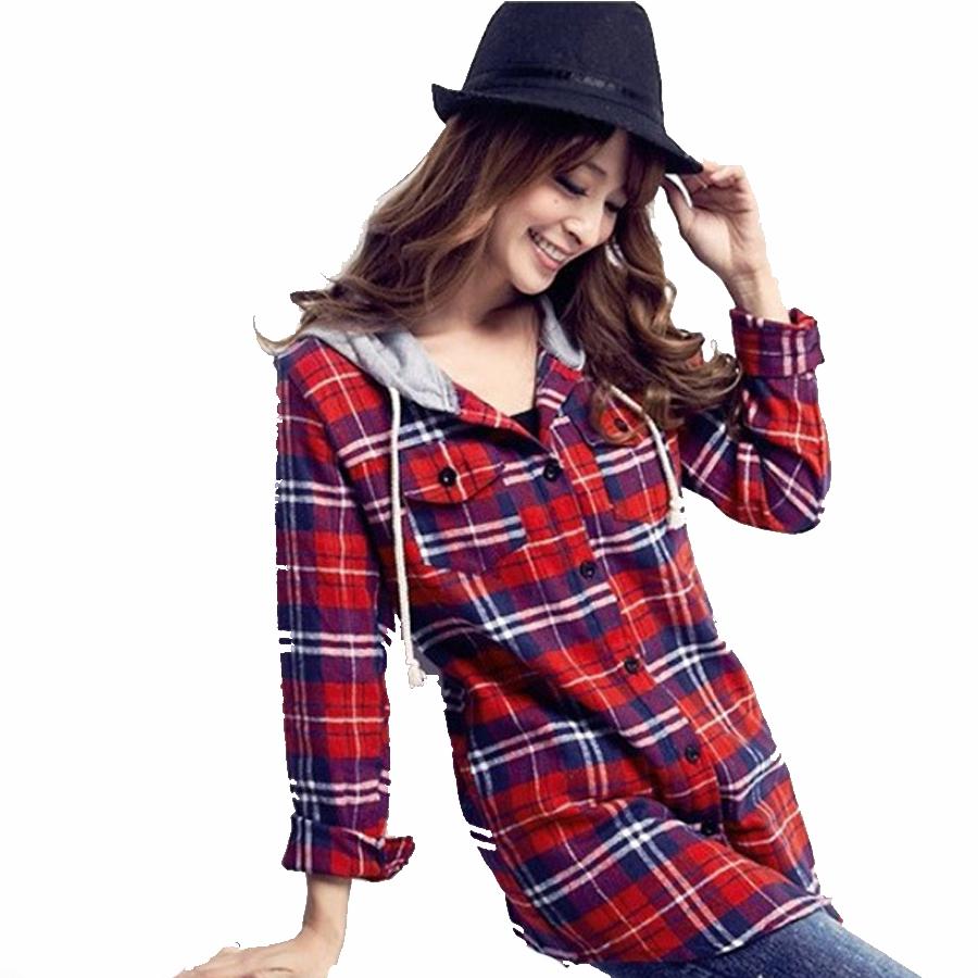 Hooded Plaid Shirt 2015 Women Tops Fashion Blusa Long