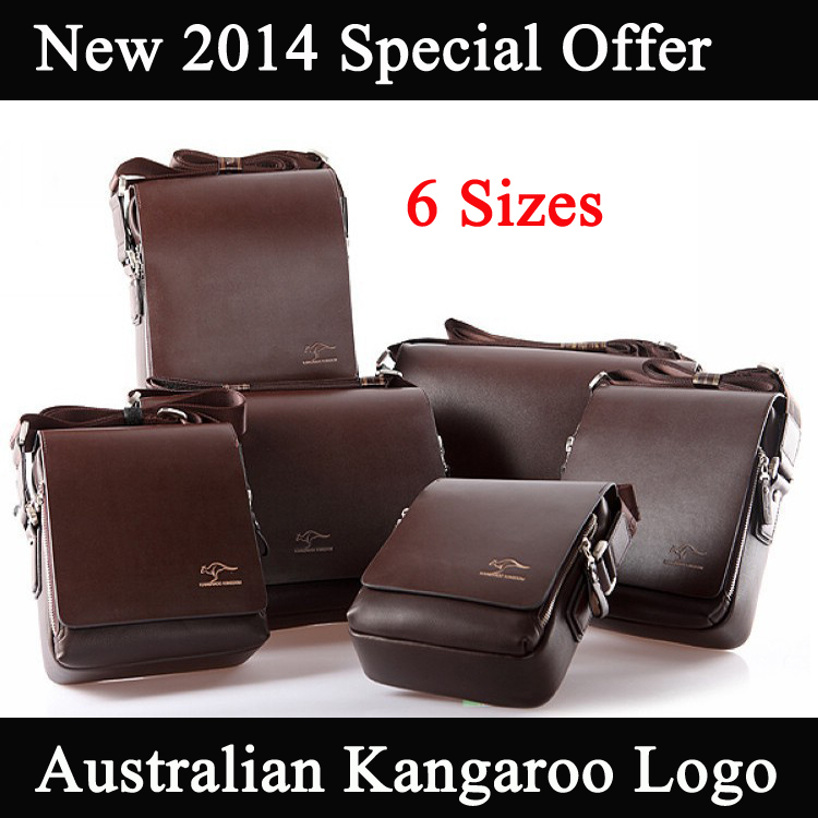 New 2014 Genuine Leather Men Messenger Bags Australia Kangaroo Logo Zipper 6 Size 2 Color Men Travel Bags Drop Shipping M207(China (Mainland))