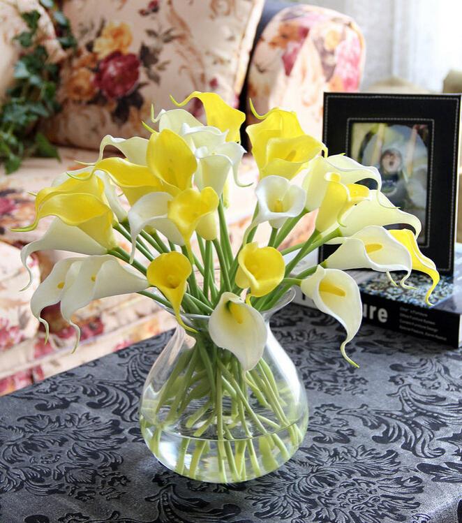 24pcs/lot Calla Lily PU Simulation Bouquet Decorative Flowers Artificial Wedding Party Festival Mini Home Decor Craft(China (Mainland))