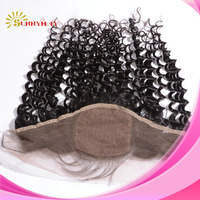 """Unprocessed Aliexpress Silk Base Lace Frontals Natural Color Brazilian Virgin Human Hair Curly Silk Base Lace Frontal (13""""*4"""")"""
