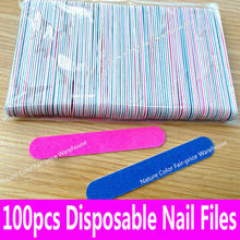 100pcs Professional Nail Files Sandpaper Buffers Slim Crescent Grit Artificial Nail Tips Tools disposable cuticle remover callus(China (Mainland))