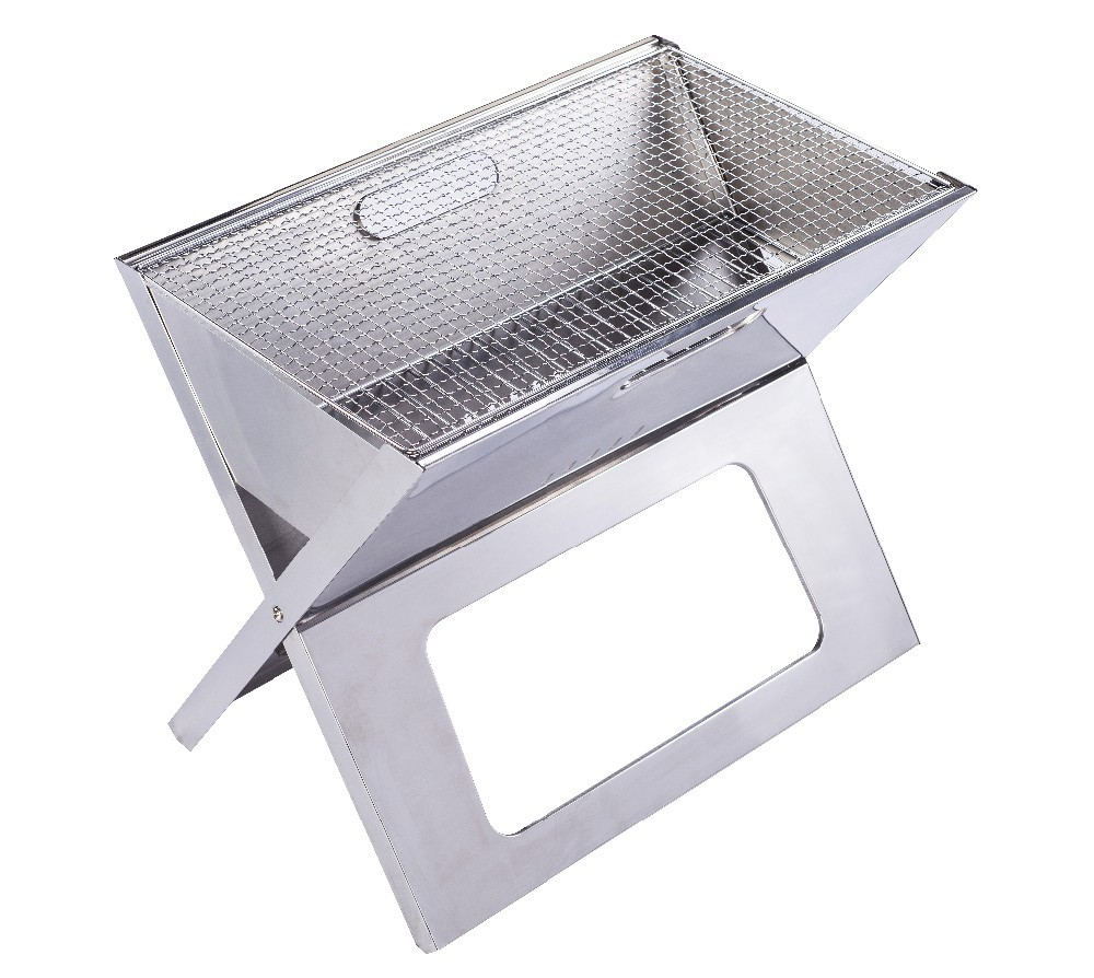 Wholesale folding style easy carry stainless steel portable charcoal grill for outdoor babeque(China (Mainland))