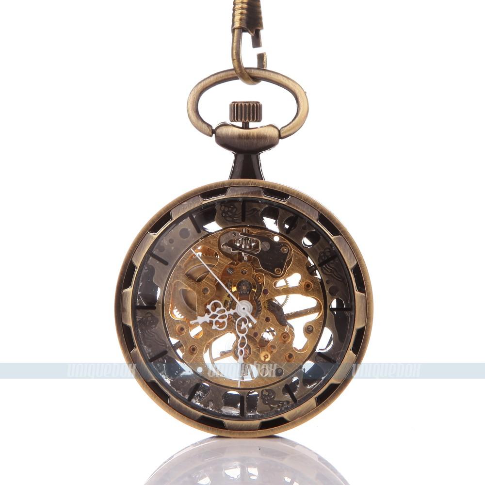 Classic Steampunk hand-wind mechanical pocket watch Bronze Stainless Steel unisex pocket watch 052982(China (Mainland))