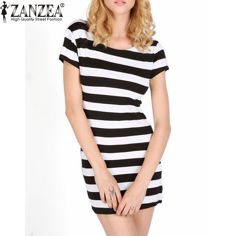 2015 Women Summer Fashion Short Sleeve Bowknot Backless Dresses Casual Elegant  Bodycon Slim Fit Striped DressОдежда и ак�е��уары<br><br><br>Aliexpress