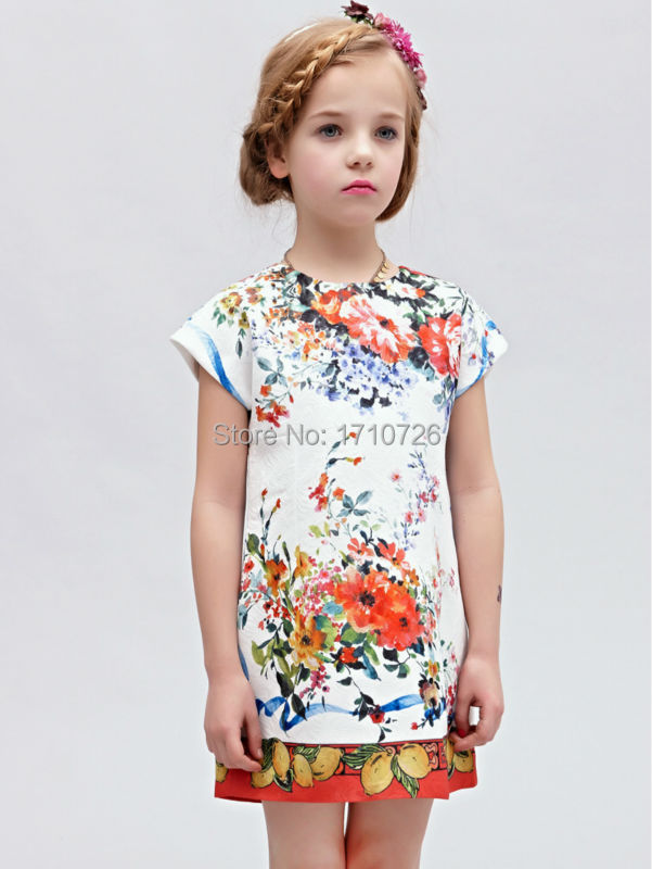 spring summer toddler vintage dress lemon fruit floral pattern top quality kids short sleeve clothes for children(China (Mainland))