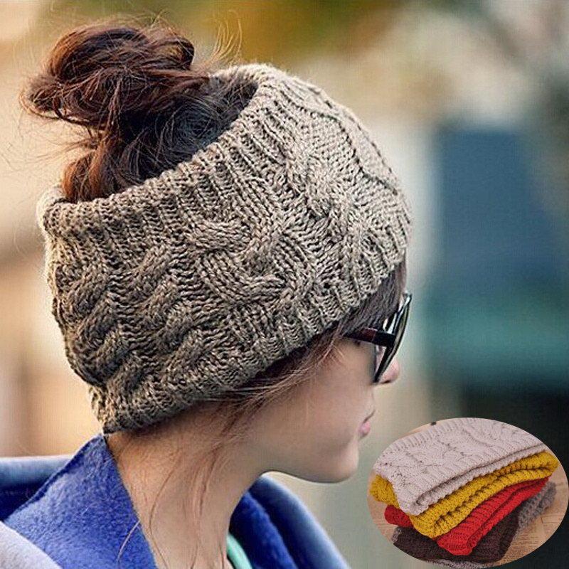 Fashion Chic Women Casual Knitted Skull Beanie Warm HeadBand Lady Girl Winter Cap Headwrap Hat Black Coffee Red(China (Mainland))