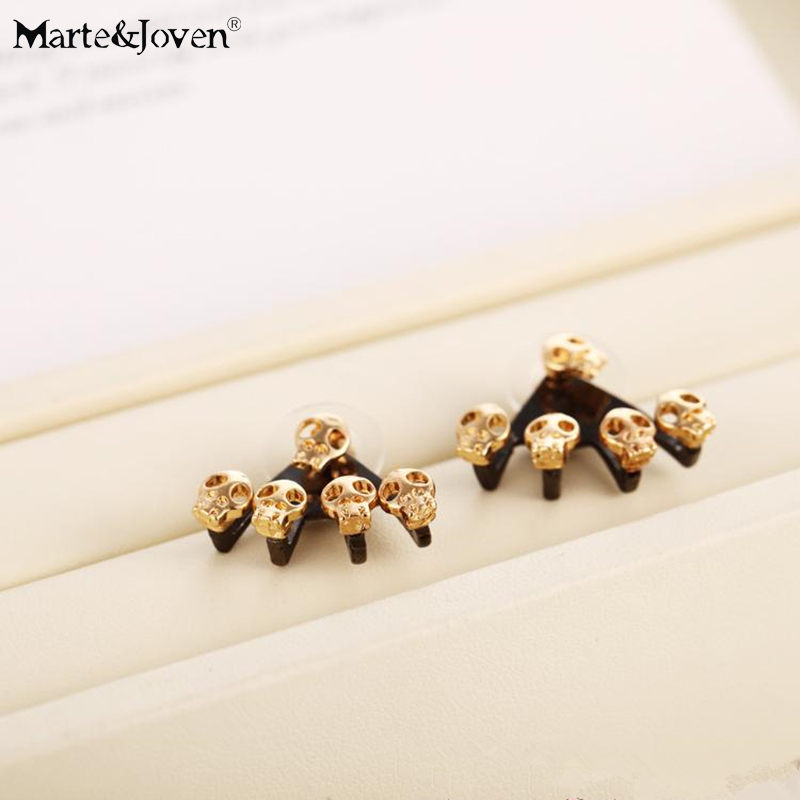 New fashion Vintage personality Two Side Wearing Earrings punk skull gold black cartilage earring claw Stud Earrings for women(China (Mainland))