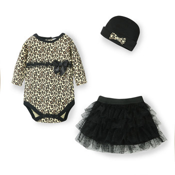 2015 New Autumn Leopard baby rompers girl's fashion cotton 3 pcs baby clothing set romper+lace TUTU+ hat/hairband baby clothes