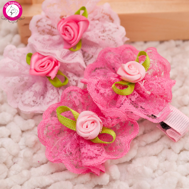 10pcs/lot Rose Lace Flower Dog Puppy Hairpin 5*4.5cm Pet Hair Clip Grooming(China (Mainland))