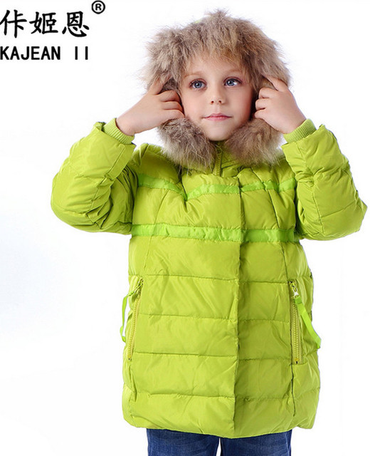 Ка Джи En высокие зимние модели бархат куртку детей пуховик и длинные участки Корейский шерсть галстук крышка девочек пальто