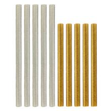 5pcs Silver Gold Semi-Translucent Glitter Hot Glue Sticks Deco Sauce Fake Icing Wax Seals HK Silver 11x200mm Gold 11x150mm(China (Mainland))