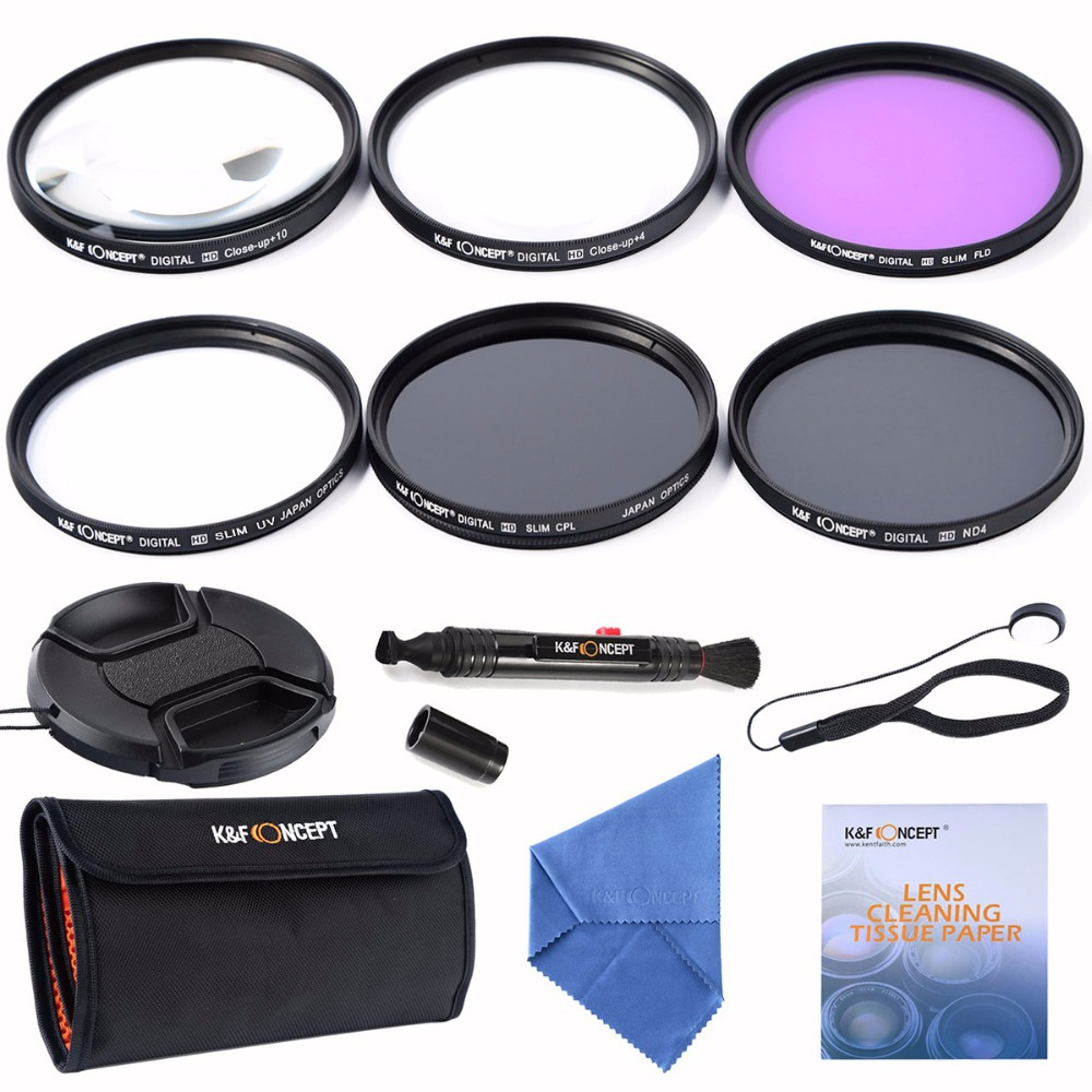 K&F Concept 58mm Slim UV CPL FLD ND4+Macro Close Up +4+10+ Cleaning kits Lens Filter For Nikon D7100 D5100 D3100 D3200 D7000(China (Mainland))