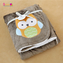Topsale Adorable Newborn Cozy Blanket New Thicken Double Layer Fleece Infant Swaddle Bebe Owl Stroller Wrap Baby Bedding Blanket(China (Mainland))