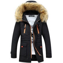 2015 New Fashion Long  Mens Parka Coat Thick Black Blue Green Colors Mens Winter Parka With Fur Hood Good Quality Jacket Men