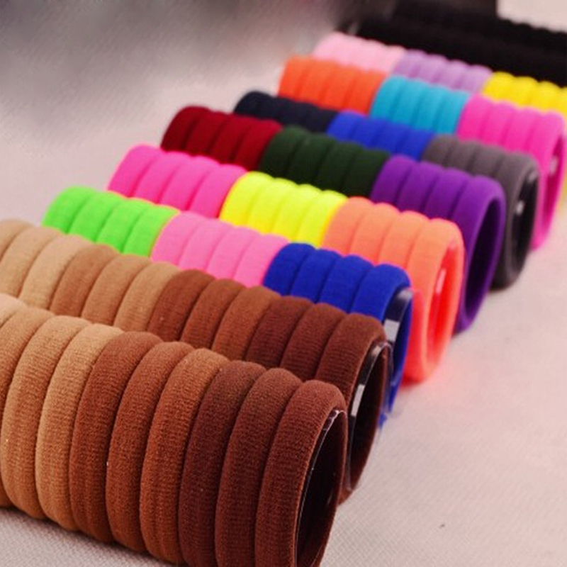 30pcs Candy Fluorescence Colored Hair Holders High Rubber Baby Bands Hair Elastics Accessories Girl Women Tie Gum And Spring(China (Mainland))