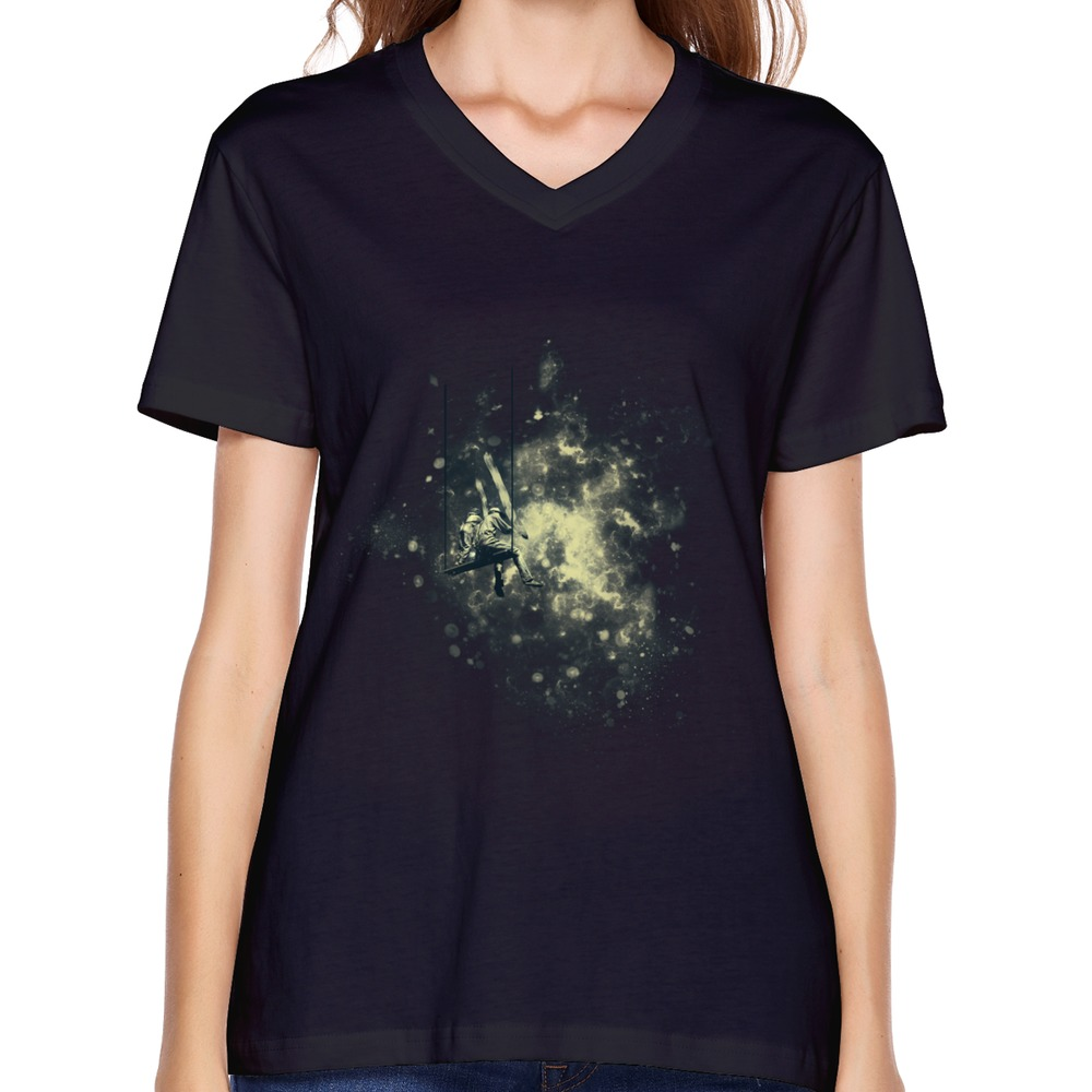 2014 New Short Sleeve T-Shirt Women's Space Painters Designed Classic Picture Woman T Shirts(China (Mainland))